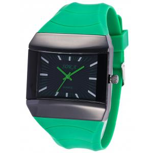 Silicone Strap Square Analog Watch - GREEN