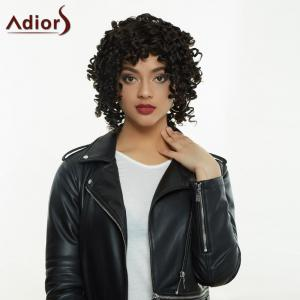 Adiors Medium Afro Curly Side Bang Synthetic Capless Wig -