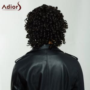 Adiors Medium Afro Curly Side Bang Synthetic Capless Wig - BLACK BROWN