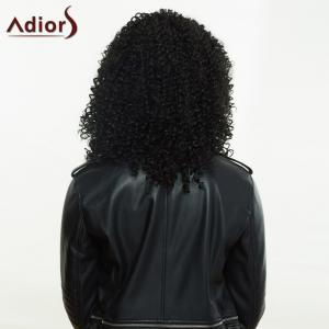 Fashionable Black Long Fluffy Curly Side Parting Synthetic Wig For Women - BLACK