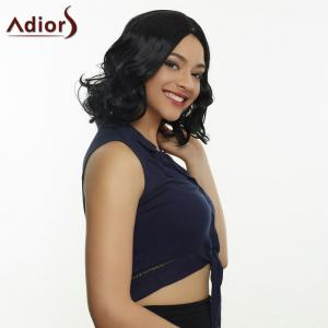 Trendy Medium Curly Black Centre Parting Women's Synthetic Hair Wig - BLACK