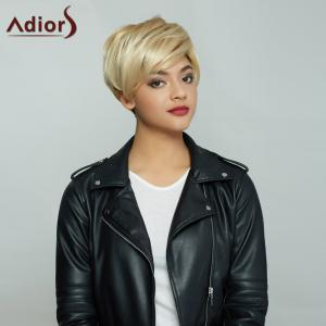 Golden Mixed Side Bang Short Fluffy Handsome Synthetic Hair Wig - COLORMIX