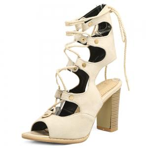 Heeled Slingback Gladiator Sandals That Lace Up Calf - OFF WHITE 37
