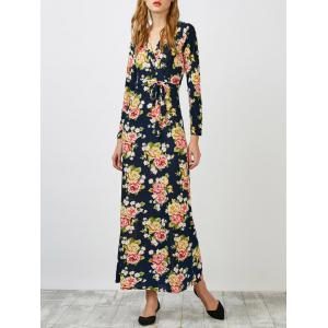 Surplice Floral Long Sleeve Maxi Evening Dress - Purplish Blue - Xl