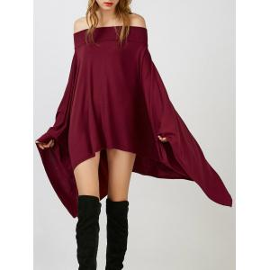 Casual Asymmetric Off The Shoulder Dress - Burgundy - S