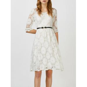 Beaded Lace Belted A Line Cocktail Dress - White - Xl