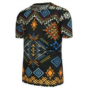 Geometric Ethnic Printed Crew Neck Tee