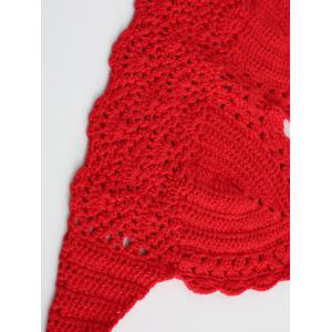 Halter Crochet Cute Bathing Suit Top - RED ONE SIZE
