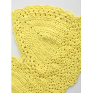 Halter Crochet Cute Bathing Suit Top - YELLOW ONE SIZE