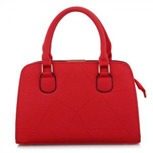 Metal and Strap Detial Faux Leather Handbag - RED