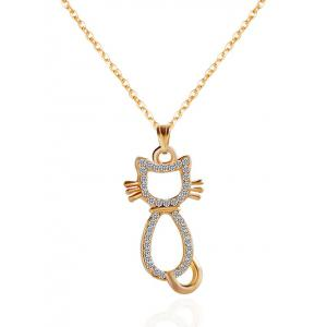 Rhinestone Kitten Pendant Necklace