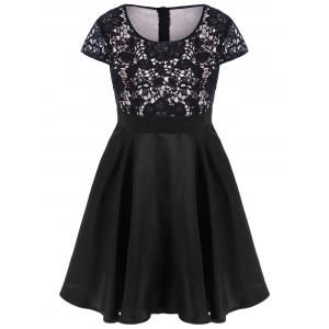 Plus Size Lace Trim Cap Sleeve Dress