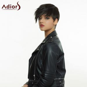 Dark Brown Side Bang Short Fluffy Handsome Women's Synthetic Hair Wig -