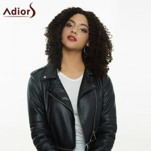 Adiors Medium Afro Curly Centre Parting Synthetic Capless Wig - BLACK