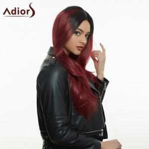 Long Colormix Side Parting Tail Adduction Natural Straight Synthetic Wig - COLORMIX