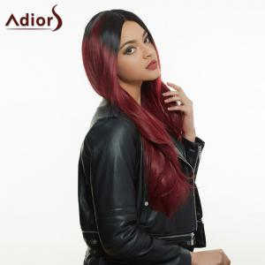 Long Colormix Side Parting Tail Adduction Natural Straight Synthetic Wig -