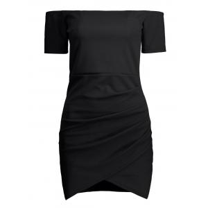Mini Off The Shoulder Bodycon Bandage Dress - Black - S