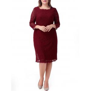 Midi Plus Size Lace Sheath Cocktail Dress