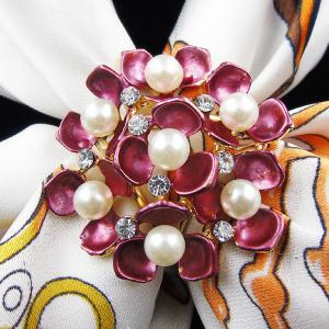 Floral Faux Pearl Rhinestone Scarf Buckle Brooch - Peach Red - One-size