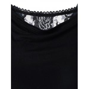 Lace Trim Ruched T-Shirt - BLACK XL
