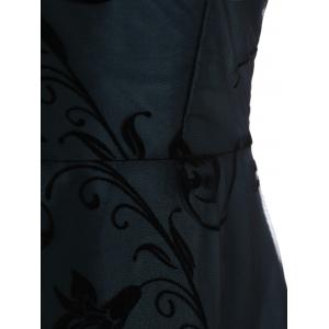 A Line Floral Sleeveless Tulle Maxi Formal Dress - BLUE M