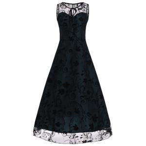 A Line Floral Sleeveless Tulle Maxi Party Formal Dress
