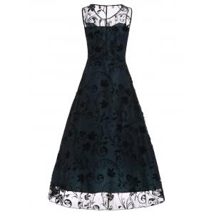 A Line Floral Sleeveless Tulle Maxi Party Formal Dress - BLUE 2XL