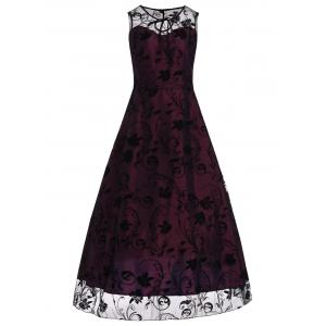 A Line Floral Sleeveless Tulle Maxi Party Formal Dress - Red Violet - S