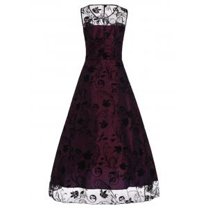 A Line Floral sans manches Tulle Maxi Party Robe formelle -