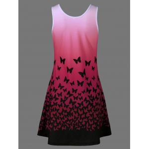 Butterfly Print Ombre Casual A Line Short Tank Dress - RED M