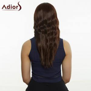Stunning Deep Brown Long Straight Slightly Curled Centre Parting Synthetic Wig For Women - DEEP BROWN