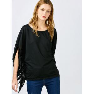 Stylish Skew Neck Short Sleeve Fringed Women's Black Blouse