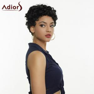 Adiors Short Curly Side Bang Fluffy Synthetic Wig - BLACK