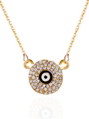 Rhinestone Round Eye Pendant Necklace - Golden - 6xl