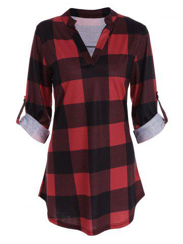 Hot Plaid Split-Neck Tee RED S