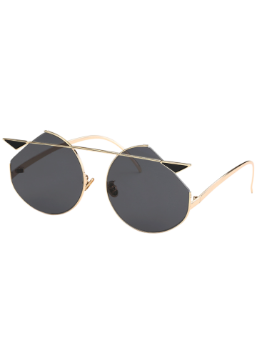 Fashion Mirrored Cat Eye Metallic Crossbar Cut lens Sunglasses