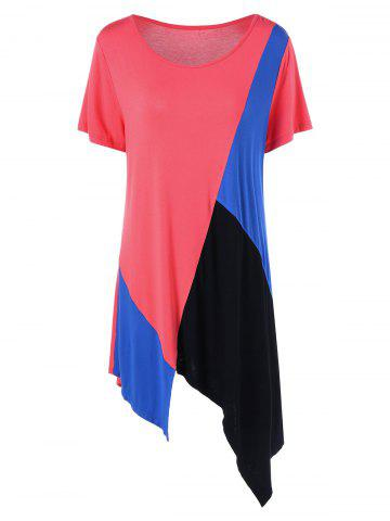 Color Block Asymmetrical Plus Size Longline T-Shirt - Colormix - 4xl