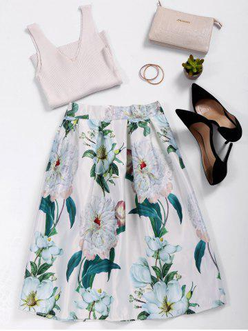 Shop Floral Print High Waist A Line Skirt WHITE ONE SIZE