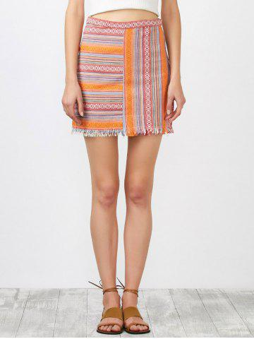 Affordable High Rise Striped Fringed Skirt SWEET ORANGE S
