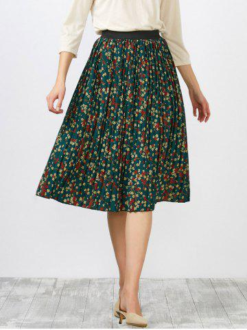 Buy High Waisted Tiny Floral Print Pleated Skirt GREEN ONE SIZE