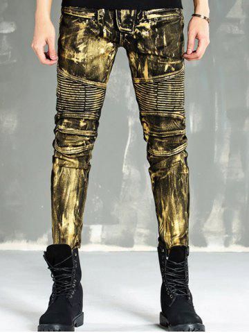 Cheap Zip Fly Painting Biker Jeans - 32 GOLDEN Mobile