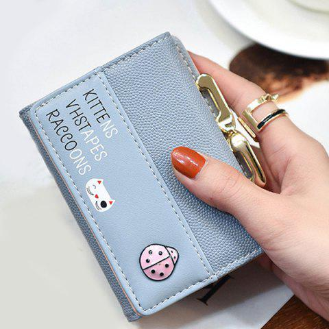 New Metal Trimmed Tri Fold Small Wallet - LIGHT BLUE  Mobile