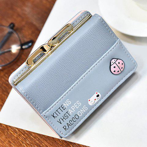 Chic Metal Trimmed Tri Fold Small Wallet - LIGHT BLUE  Mobile