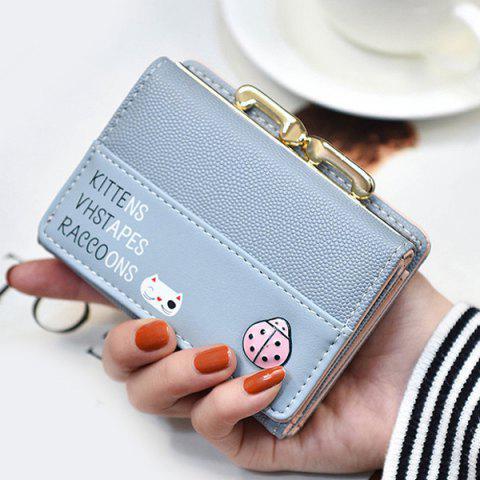 Latest Metal Trimmed Tri Fold Small Wallet - LIGHT BLUE  Mobile