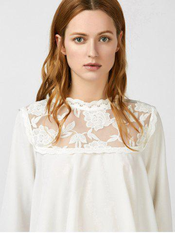 Lace Insert Asymmetrical Embroidered Blouse от Rosegal.com INT