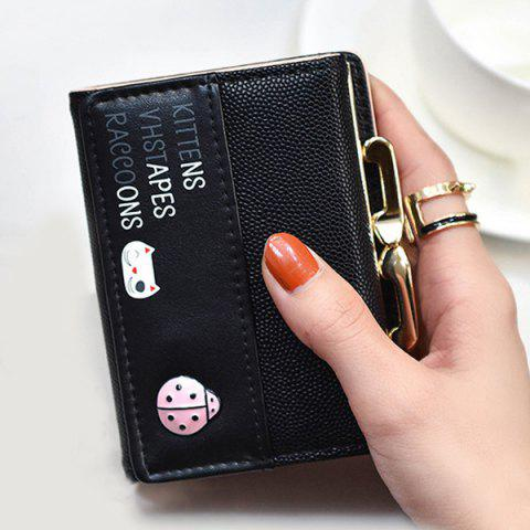 Best Metal Trimmed Tri Fold Small Wallet - BLACK  Mobile