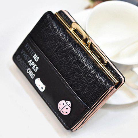 Discount Metal Trimmed Tri Fold Small Wallet - BLACK  Mobile