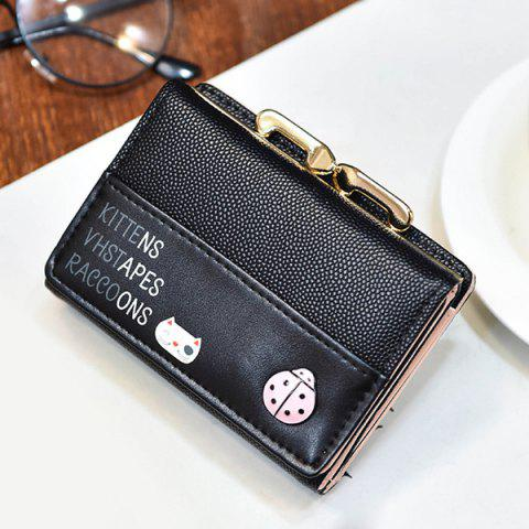 Chic Metal Trimmed Tri Fold Small Wallet - BLACK  Mobile