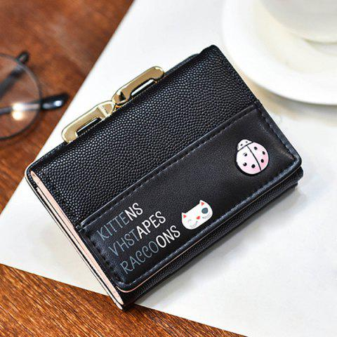 Sale Metal Trimmed Tri Fold Small Wallet - BLACK  Mobile