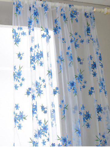 Fashion Flower Embroider Sheer Fabric Voile Curtain - 100*200CM SKY BLUE Mobile